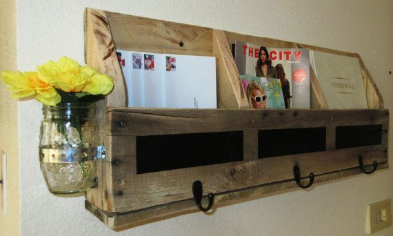 Reclaimed Wooden Hanging Mail Holder with Chalkboard Strips, Hooks, and Mason Jar, Mail Organizer, Wall mail holder, Magazine holder,