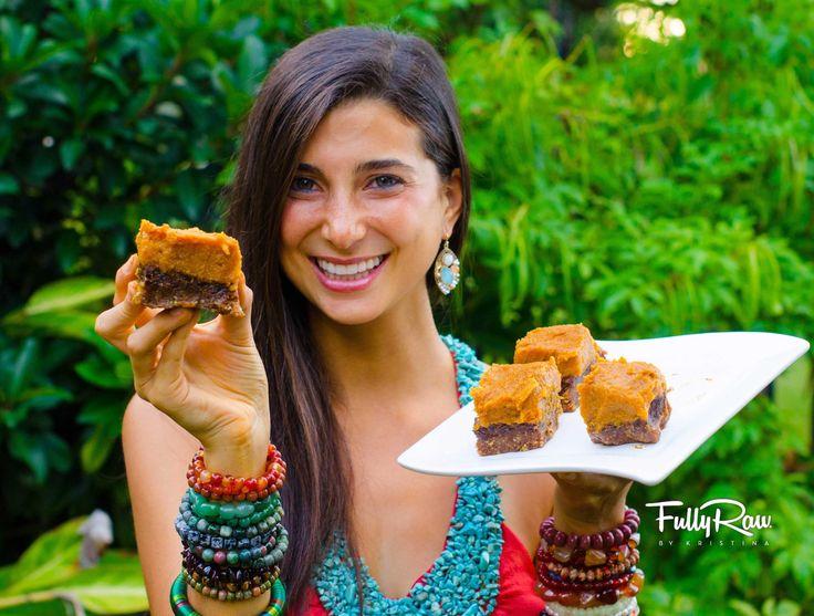FullyRaw Pumpkin Pie Brownies! - raw, healthy, no added sugar