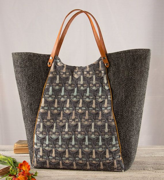 large grey upcycled sweater shopper Tote Bag by karenlukacs, $142.00