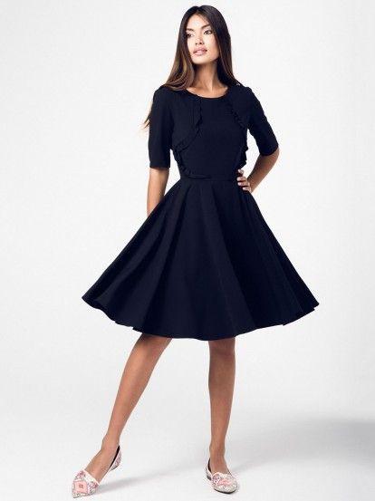 Dámske šaty s 3/4 rukávmi RITA KOSS - čierna
