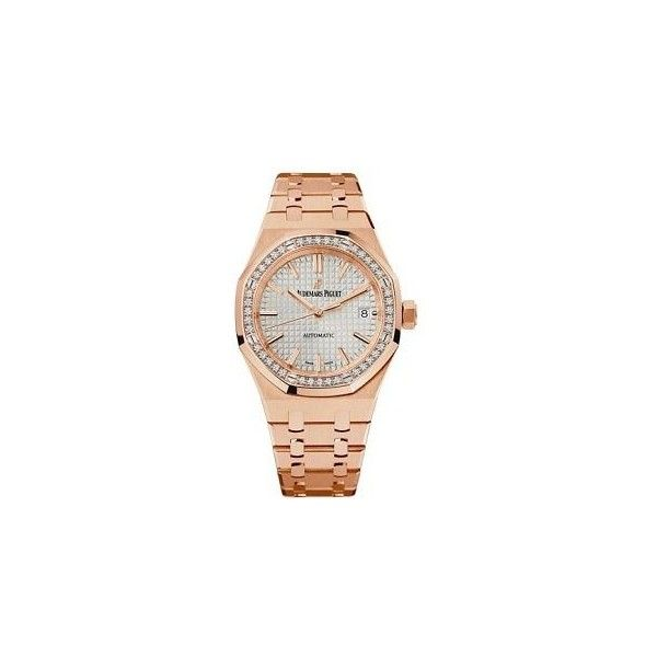 Audemars Piguet Royal Oak Silver Dial Automatic Ladies Watch ($107,271) ❤ liked on Polyvore featuring jewelry, watches, skeleton watches, audemars piguet watches, automatic movement watches, audemars piguet and see through watches