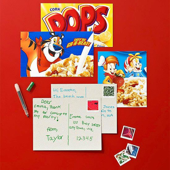 Kids can make their own postcards by cutting cereal boxes into rectangles. (via @FamilyFun magazine)