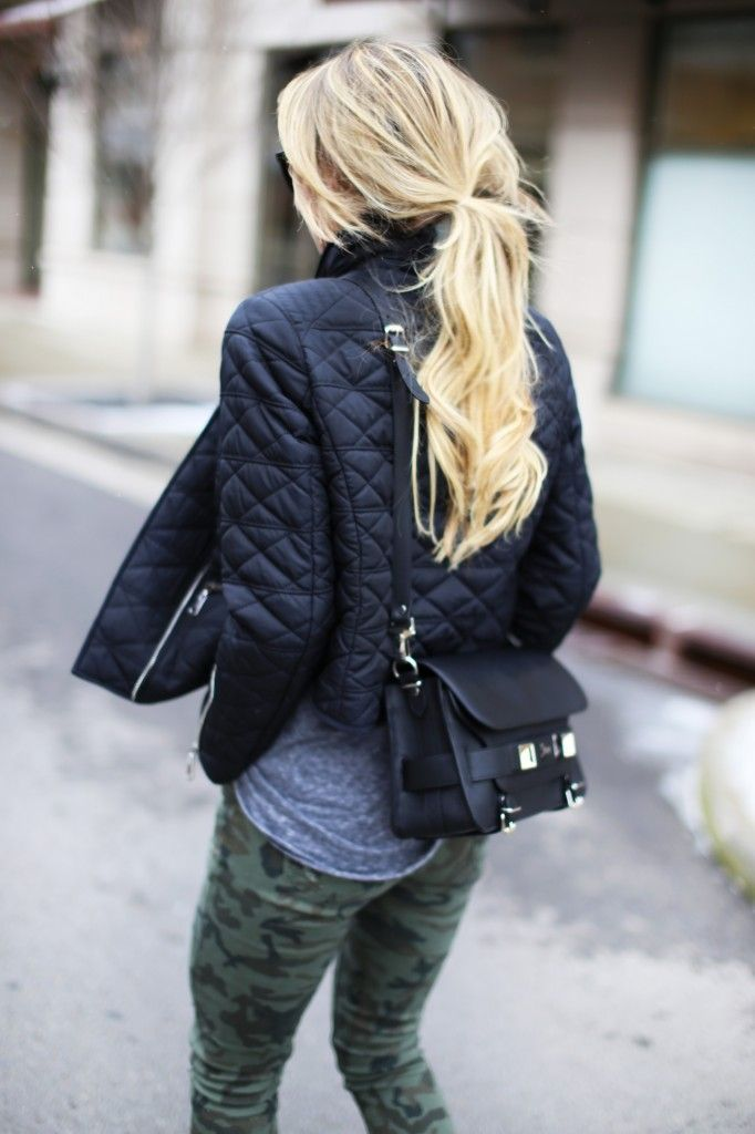 A black quilted jacket and dark green camo fitted pants are appropriate for both smart casual events and day-to-day wear.  Shop this look for $86:  http://lookastic.com/women/looks/dark-green-skinny-pants-grey-crew-neck-t-shirt-black-crossbody-bag-black-jacket/5632  — Dark Green Camouflage Skinny Pants  — Grey Crew-neck T-shirt  — Black Leather Crossbody Bag  — Black Quilted Jacket