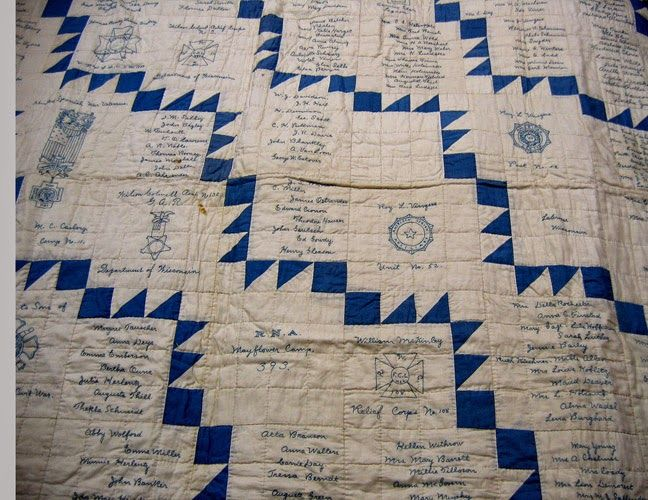 I'm fascinated with the simplicity of the design - squares and HSTs climbing their way across the quilt | from Civil War Quilts: A 20th-Century GAR Quilt: