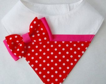 Red and White Mini Houndstooth Bib-Style by FurryTaleCouture