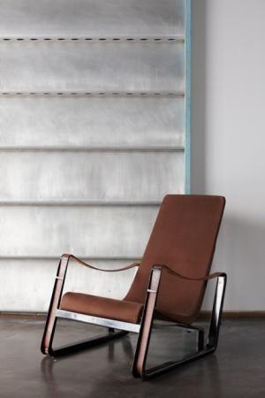 """Jean Prouvé Fauteuil """"cité""""/ """"Cité"""" armchair, 1927 Métal, cuir et toile/Metal, leather & canvas 85 x 70 x 90 cms/ 33 x 27 x 35 inches"""