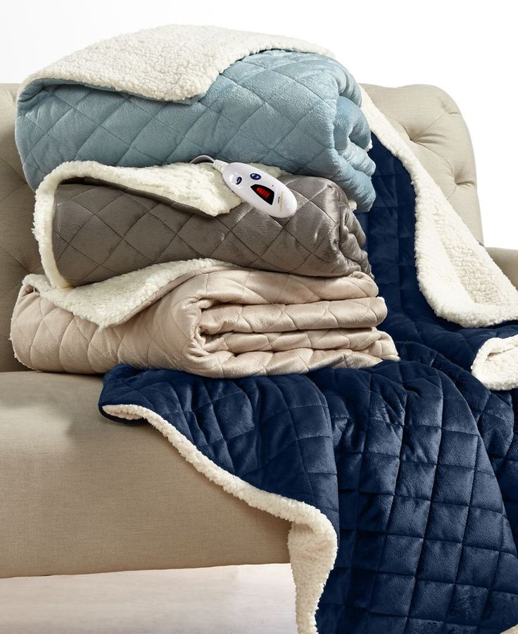This heated throw from Biddeford features quilting on the front and warm, cozy sherpa on the reverse and comes with a digital control with six heat settings so you can adjust the temperature to your d