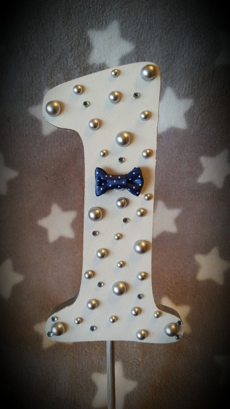 $35. First Birthday Cake Topper/First Cake Topper/navy blue bowtie and silver pearls/Custom 1st birthday cake smash topper/boys birthday keepsake by BusyLittleVivi on Etsy