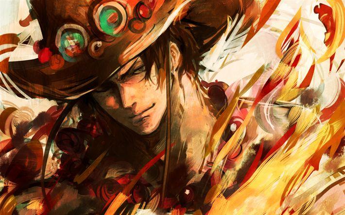 Herunterladen hintergrundbild portgas d ace, manga, kunst, anime-figuren, one piece