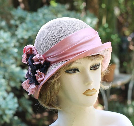 Dusty Pink 1920's Style Cloche Summer Hat for High Tea, Weddings, Special Occasions Church Downton Abbey