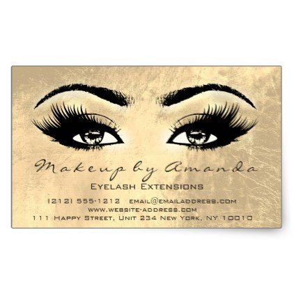 4075189f6b2 Eyelash Extension Makeup Beauty Browns Gold Glam Rectangular Sticker -  metallic style stylish great personalize