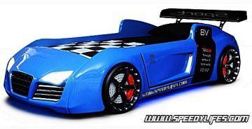 Turbo V8 Arabalı Karyola Mavi