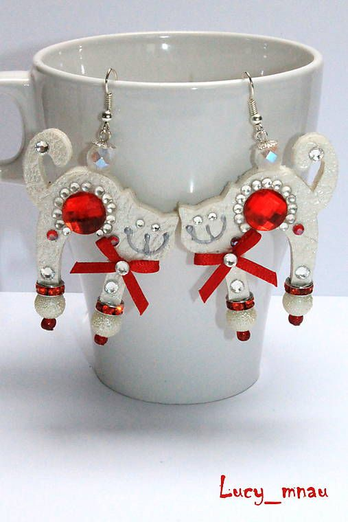 lucy_mnau / Náušničky mačičky bielo-červené :)