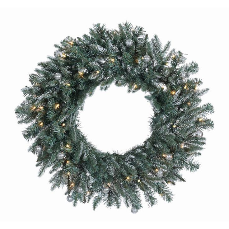 Vickerman 30 in. Crystal Frosted Balsam Pre-Lit Wreath with 50 Clear Lights - A159831