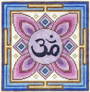 "Spiritual needlepoint - Om Mandala, hand-painted, 7"" x 7"" on 13 mesh canvas, Made in Sedona, Arizona"