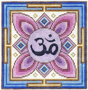 "Spiritual needlepoint - Om Mandala, hand-painted, 7"" x 7"" on 13 mesh canvas, Made in Sedona, Arizona"