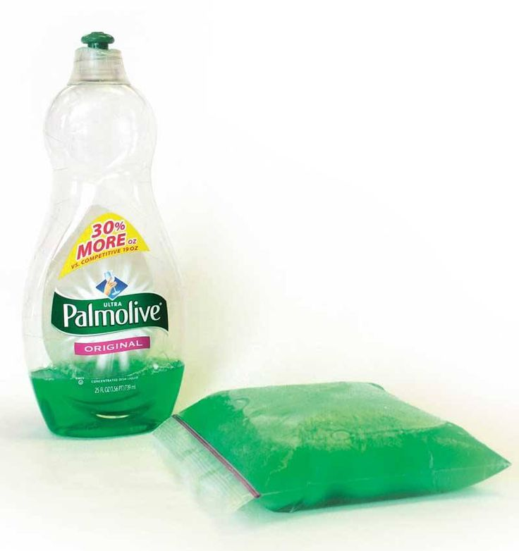 """When your vet prescribes cold therapy, an easy and inexpensive method is to pour Palmolive dish detergent into a heavy resealable plastic bag and put it in the freezer. The detergent does not freeze solid (other brands do.) In a few hours you'll have a fully flexible cold pack. Contour it to your horse's leg, holding it in place with a self-adhesive elastic bandage. The detergent is nontoxic, so if a bag leaks or breaks, the liquid can be washed off. Reusable."""