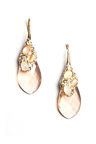 Crystal Encrusted Gold Moonstone & Champagne Drop Earrings. So Pretty! Small and Sparkly :) $345