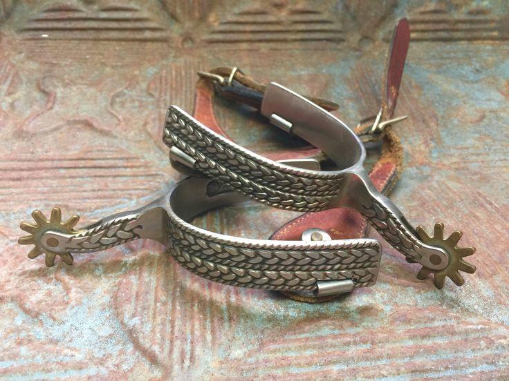 Vintage Steel & Leather Cowboy Spurs