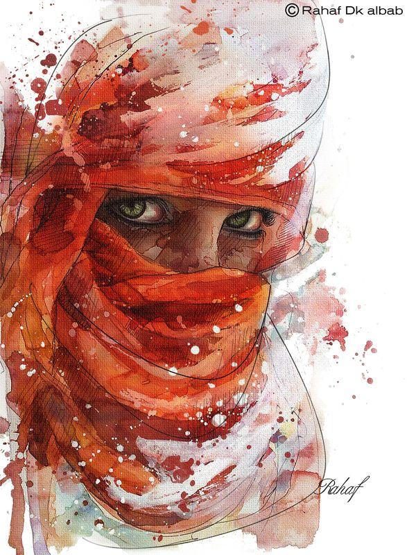 Arab woman Portrait by Rahaf Dk Albab, via Behance