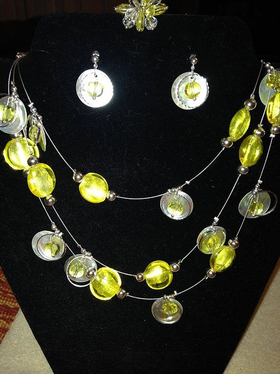 Sunshine Yellow and Shells Jewelry Set by rjpeters12 on Etsy