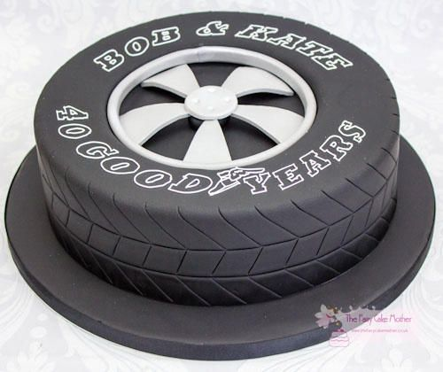 "This cake was made for a couple who were keen motor enthusiasts to celebrate their 40th wedding anniversary. It was their idea to use the ""GoodYear"" tyre – I thought it was genius ! Thanks for looking !"