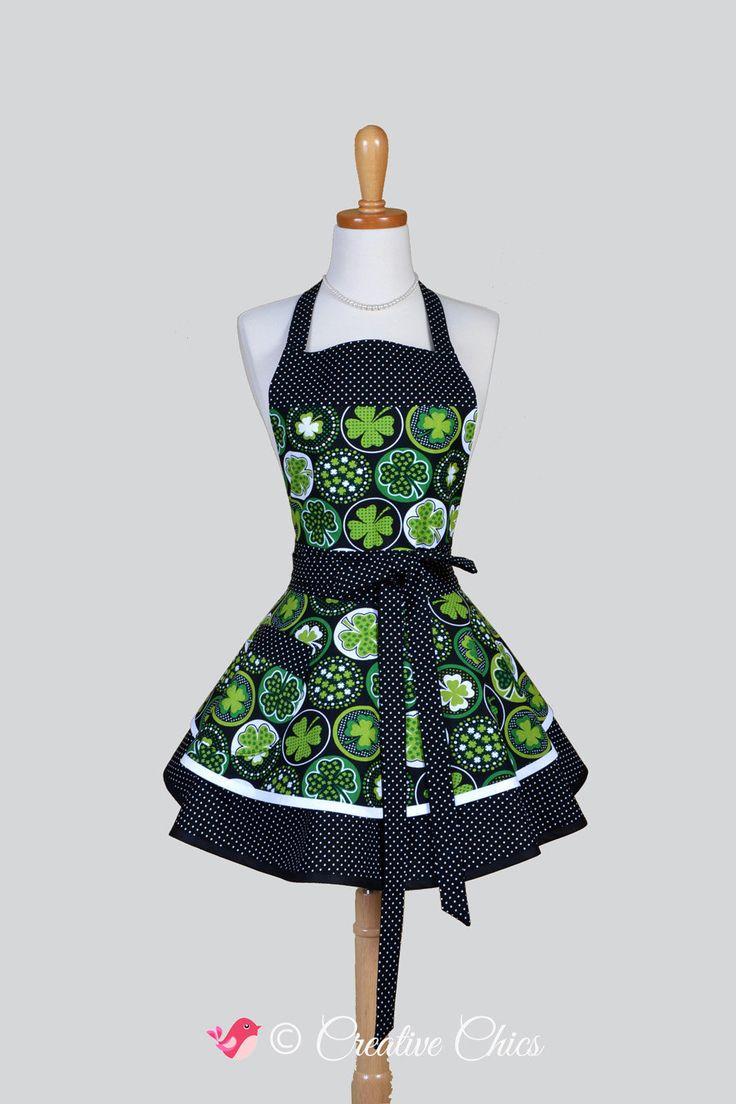 White apron green thumb - Ruffled Retro Aprons Womens Flirty Cute Full Vintage Kitchen Apron Green Black White 4 Leaf Clover Handmade Hostess Cooking Womans Apron