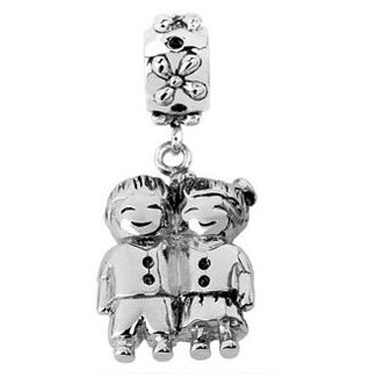 Sterling silver sister and brother dangle bead charm