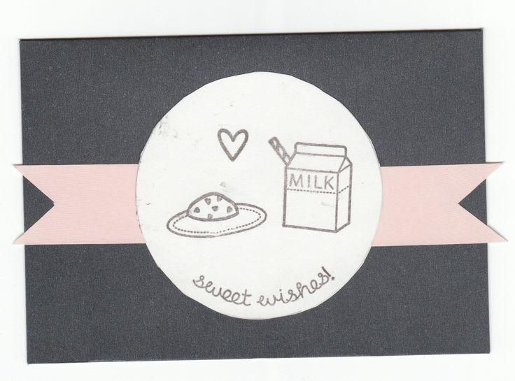 I like the pink banner behind the stamps! It adds an extra something to the card. The stamp set, Milk and Cookies by lawn fawn has got to be one of my faves!