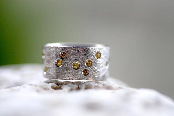 Sterling Silver brushed textured ring/Yellow sapphires and