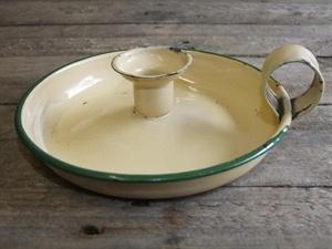 Enamelled Cream / Green Candle Holder  wwww.supervintagedecor.co.uk