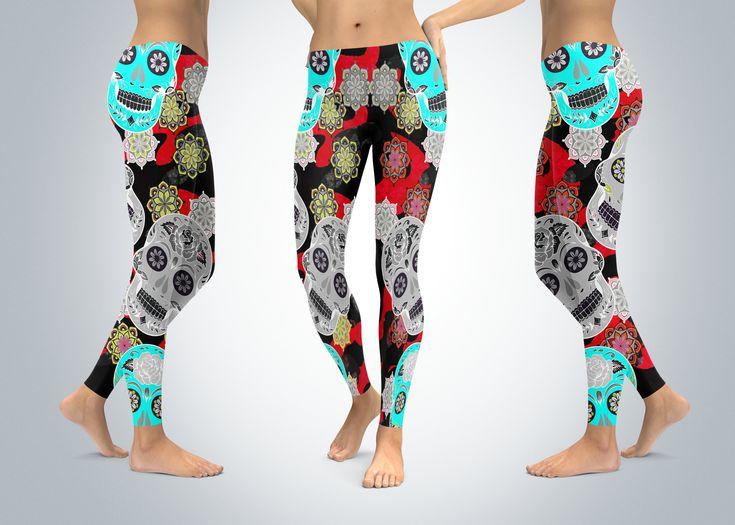 372cf4aaac48a Sugar Skull Leggings, Yoga Leggings, Sugar Skull Yoga Pants, Capri Yoga  Pants, Sport Stretch Leggings, Fitness Workout Yoga Pants Joggers