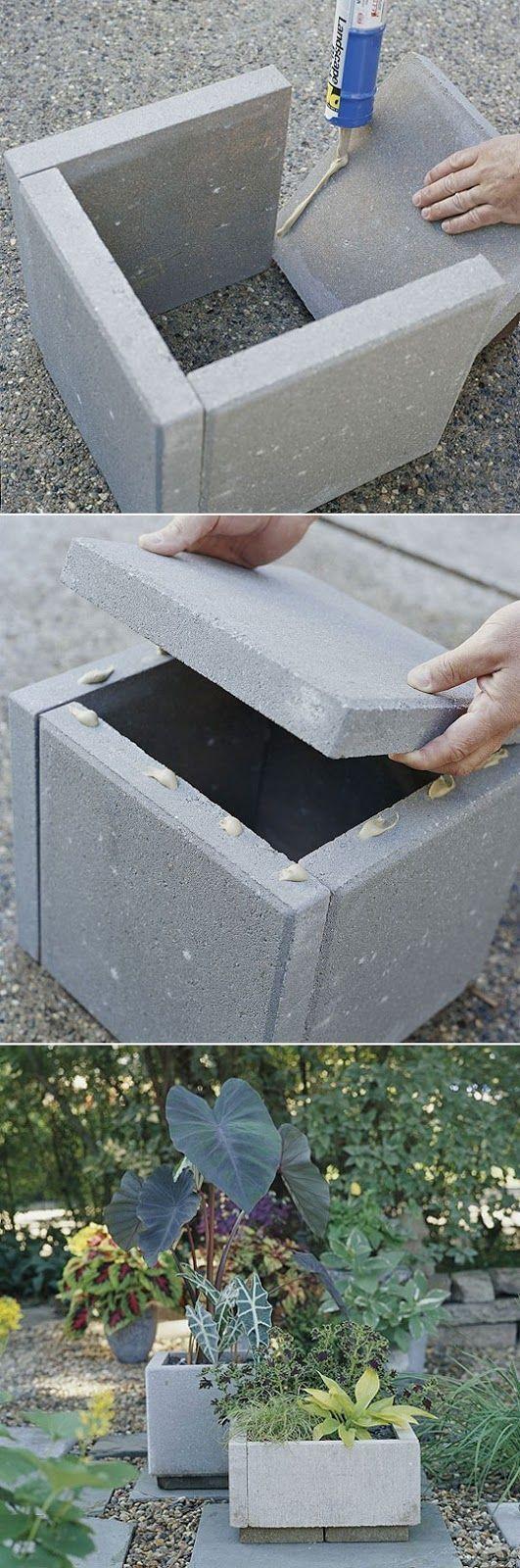 DIY-Pflanzgefäß aus Beton Beachten Sie die & # 39; quasi-natür & # 39; Blick von Wegkombination