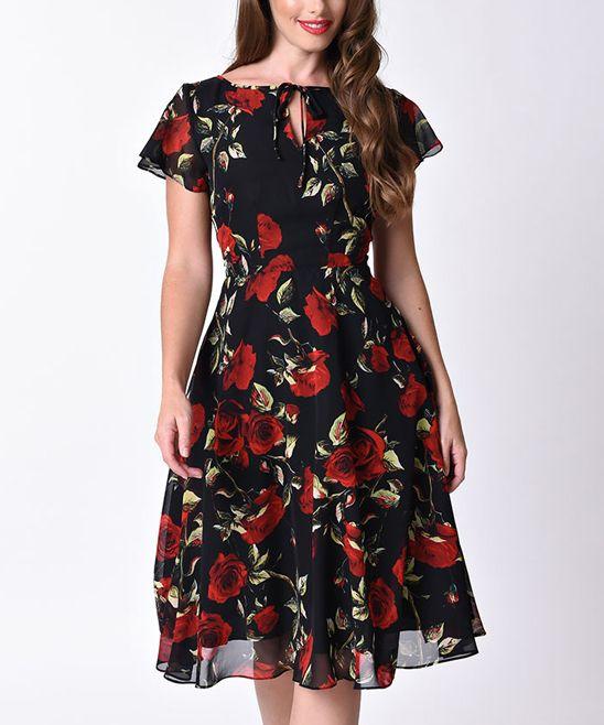 Black & Rose Keyhole A-Line Dress