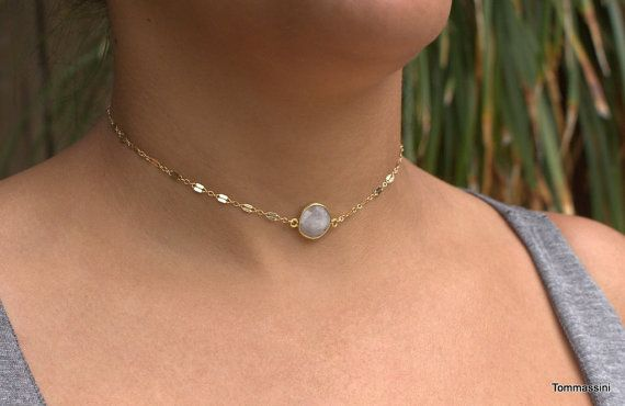Hey, I found this really awesome Etsy listing at https://www.etsy.com/listing/385204602/gold-choker-necklace-dainty-stone-choker