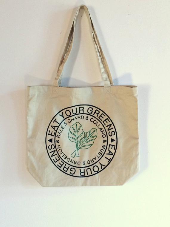 Hand printed Chard Print Farmer/'s Market Tote Bag