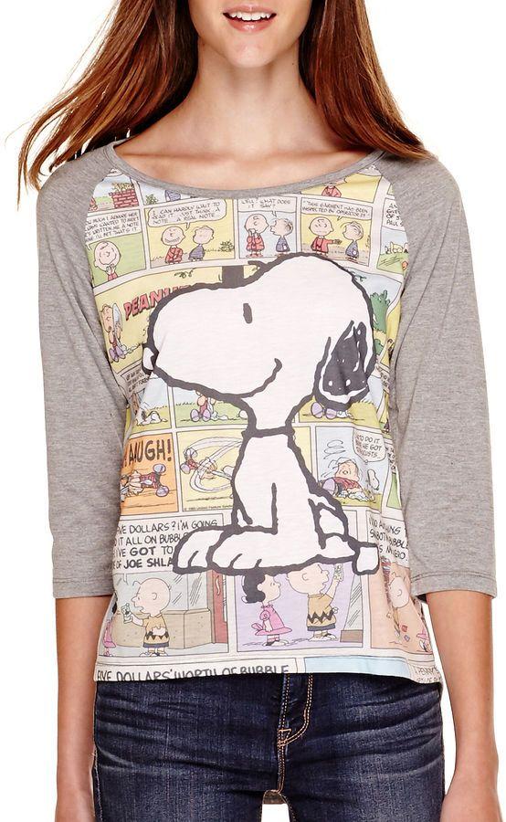Hybrid Tees Peanuts Raglan-Sleeve Snoopy T-Shirt
