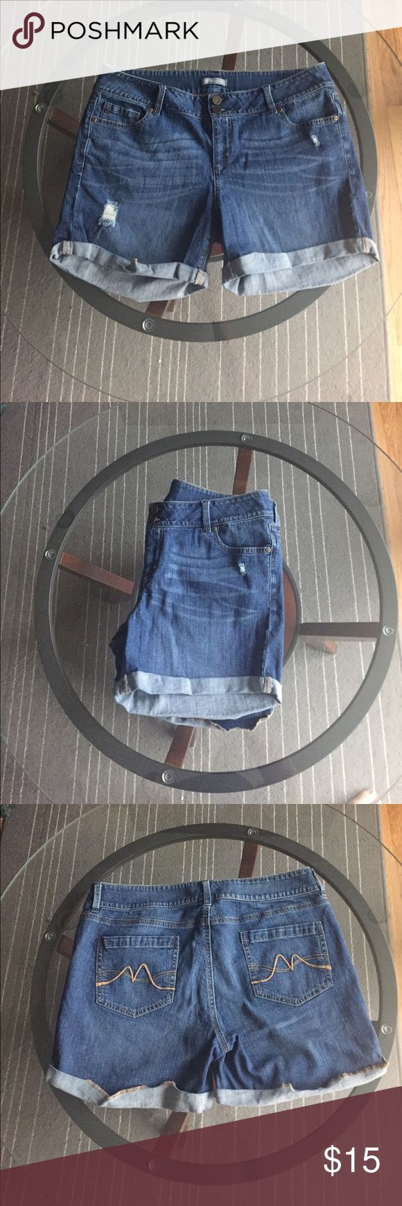 Long Jean Shorts Light weight jean shorts that are longer.  Cuffed up at the bottom New York & Company Shorts Jean Shorts