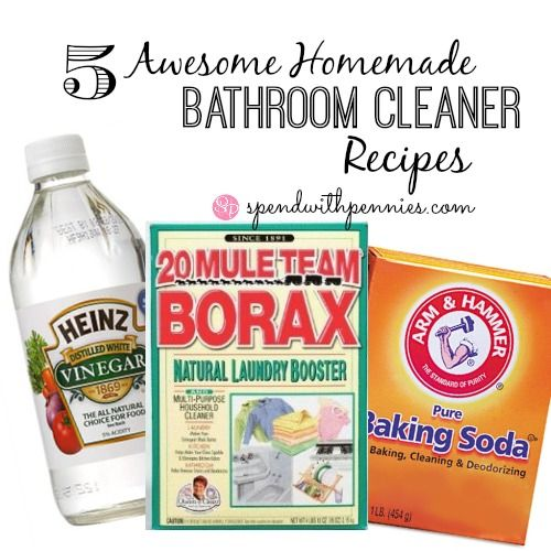 5 Awesome Homemade Bathroom Cleaner Recipes!  Shine up your mirrors, tubs and more with these great ideas!