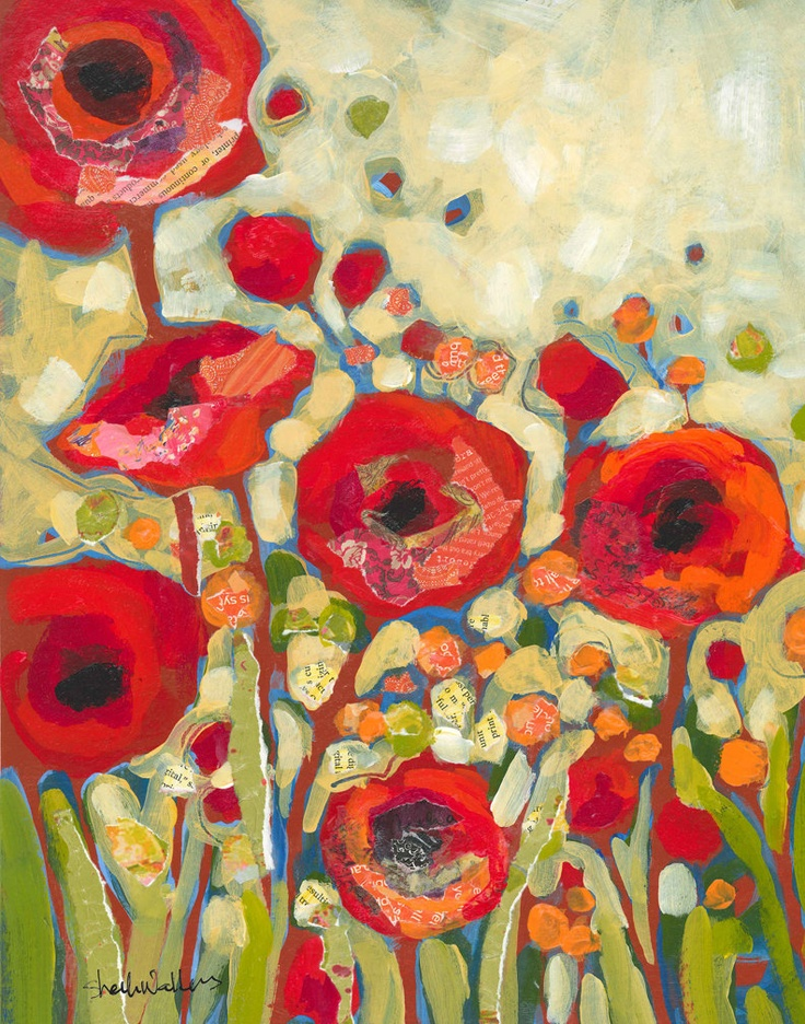 Red Flowers No2   Shelli Walters    Wouldn't this be amazing hooked?
