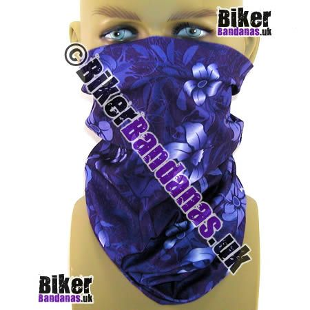 Purple Airbrushed Flowers Multifunctional Headwear / Neck Tube Bandana - one of over 400 neck tube styles for men and women