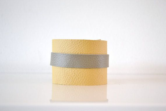yellow and grey wide leather bracelet - boho hippie gypsy festival bracelet - 8inch leather bracelet - stocking stuffer - gift for him