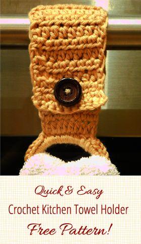 Crochet towel holder pattern for the kitchen. Quick & easy free crochet kitchen towel holder pattern!