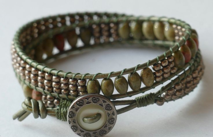Two Wrap Beaded Leather Wrap Bracelet, Olive Green Wrap Bracelet, Sage Green Wrap Bracelet, 2x Wrap Bracelet Shimmer Bracelet Seed Bead $37.00 Wrap by BaysideBlissDesigns on Etsy