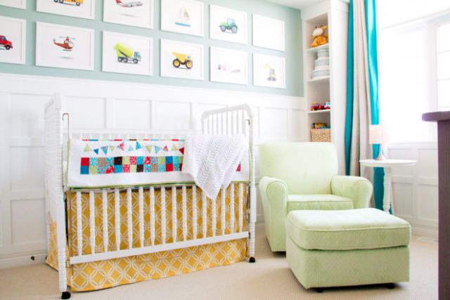 Bright and Happy Nursery - Project NurseryBright, Happy Nurseries, Kids Room, Cribs Skirts, Projects Nurseries, Baby Room, Cheery Nurseries, Gallery Wall, Nurseries Ideas