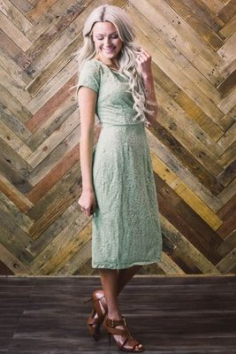 """PERFECT Bridesmaid or Semi-Formal Dress! Lace is timeless and effortlessly feminine! """"April"""" Modest Dress in Sage Green Lace"""