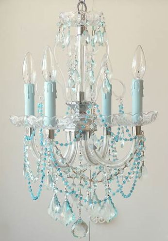 Sea Blue Chandelier - Could rehab a small brass chandelier, paint it white and add all the beads and crystals!