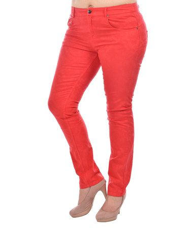 Loving this Red Skinny Pants - Plus Too on #zulily! #zulilyfinds