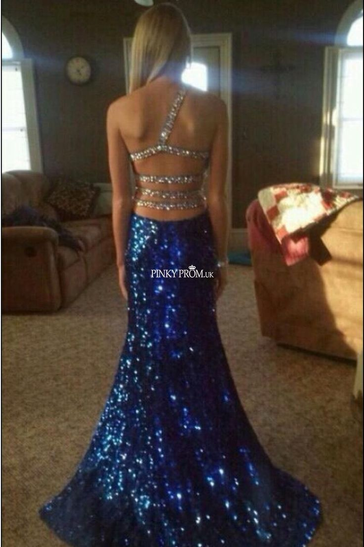sassy and sexy blue sequin prom dress with stunning back designs/details