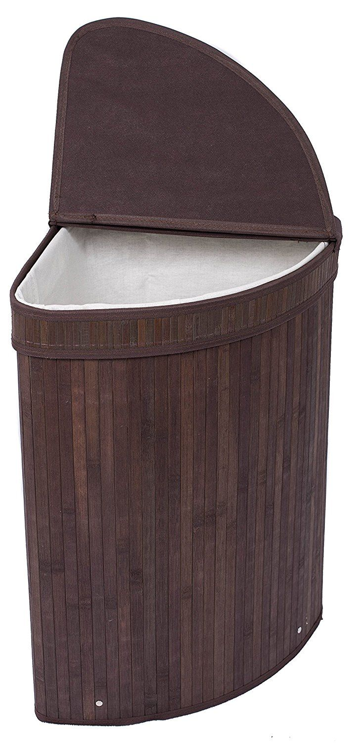 BirdRock Collapsible Corner Laundry Hamper with Lid and Cloth Liner